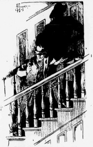 I took the stairs three at a time. Illustration by Hy Leonard