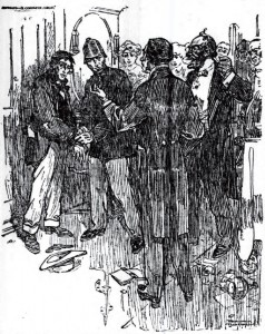 In a twinkling he had the handcuffs on my wrists, while the pugilist explained the situation and his patron reviled the force and its representative. Illustration by Frank Parker