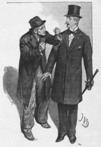 I turned round and faced the dark scowl . . . of a dilapidated tramp Illustration by John H. Bacon