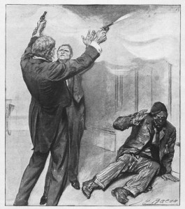 """Next instant the prize-fighter disarmed him."""" Illustration by John H. Bacon"""