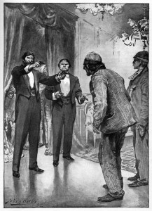 """Whort price thet brikewater?"" drawled Raffles coolly. Illustration by John H. Bacon"