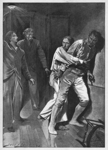 I was still holding him when Crowley turned up the gas. Illustration by John H. Bacon