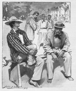 There he sat, with a Zingari straw hat tilted over his nose. Illustration by John H. Bacon