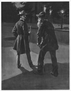 """I faced the dark scowl and the dirty, clinched fists of a dilapidated tramp."""" Illustration by E. V. Nadherny"""