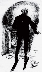 Just as I was about to go there came a violent knocking at the outer door. Illustration by Hy Leonard