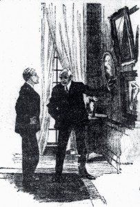 He stood simply pointing to an empty picture frame. Illustration by Hy Leonard
