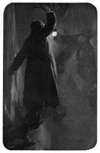 """I clenched my teeth and pushed the door open, and there was the veriest villain waiting for me, his little lantern held aloft. """"You blackguard!"""" I cried, and with a single thwack I felled the ruffian to the floor. Illustration by Cyrus Cuneo"""