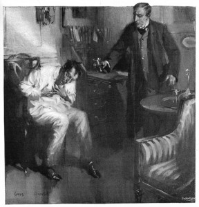 I gave him nearly half a glassful, and his paroxysm subsided a little as he sat hunched up in a chair. Illustration by Cyrus Cuneo