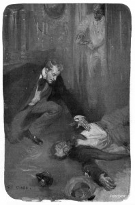 """I groaned aloud as I knelt over him and felt his heart, and I was answered by a bronchial whistle from the door.  """"Jolly well done!"""" cheered my asthmatical friend. Illustration by Cyrus Cuneo"""
