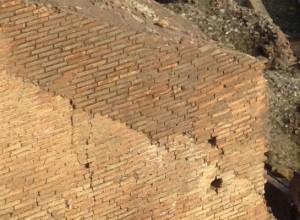 Roman bricks. These are in the Colosseum, Rome.