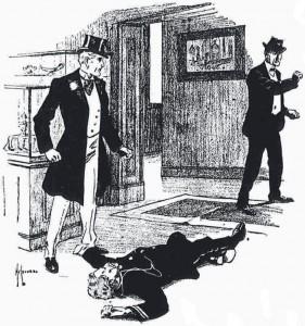 I ran to the door. Illustration by Hy Leonard