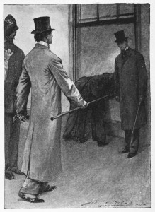 """May I ask what you gentlemen want?"" said he severely. Illustration by John H. Bacon"