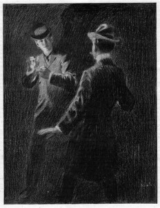 And suddenly a match blazed from the black Illustration by E.V Nadherny