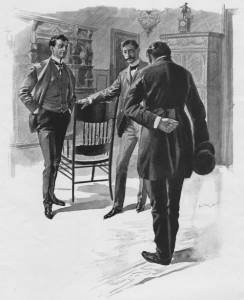 """Let me introduce you, Bunny, to our distinguished colleague, Mr. Reginald Crawshay"" Illustration by E.V Nadherny"