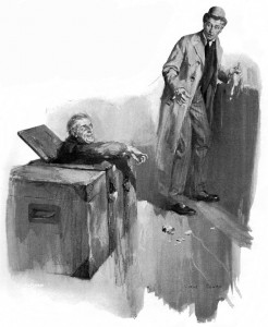A life-size Jack-in-the-box, he had thrust his head through a lid within the lid. Illustration by Cyrus Cuneo