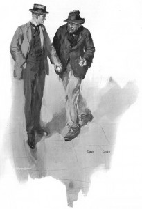 "A street sloucher sidled up to me in furtive fashion."" Illustration by Cyrus Cuneo"