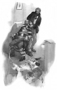 Before many minutes we had our officer gagged and bound in his chair. Illustration by Cyrus Cuneo