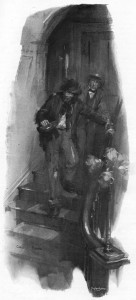 Raffles stood still upon the stairs.  A deafening double-knock had resounded through the empty house. Illustration by Cyrus Cuneo