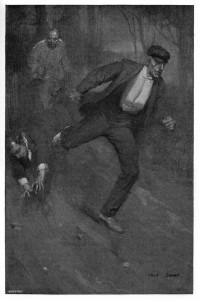 Nay, as I flagged and stumbled I heard him pounding steadily behind. Illustration by Cyrus Cuneo