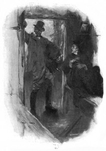 And there I was sitting when the door opened and a huge man in riding-clothes stood before me in the steely dawn. Illustration by Cyrus Cuneo