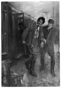 That he took no notice of the huge man in riding-clothes, who was obviously intoxicated, or of the more insignificant but not less horsy character who had him in hand. Illustration by Cyrus Cuneo