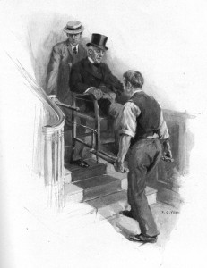 The porter and I staggered up-stairs with my decrepit charge. Illustration by F. C. Yohn