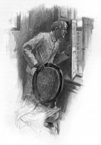 He was peeping through the blind. Illustration by F. C. Yohn