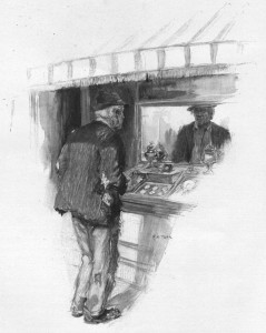 I saw a white-headed old chap looking at me through a shop-window. Illustration by F. C. Yohn