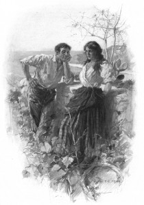 We met . . . sometimes among the vines. Illustration by F. C. Yohn
