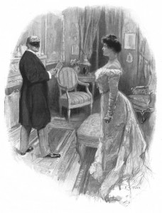 She stood without flinching before a masked ruffian. Illustration by F. C. Yohn