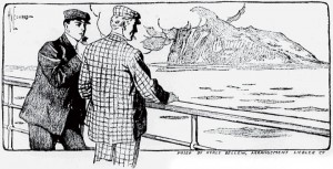 Here we were near Gibraltar. Illustration by Hy Leonard